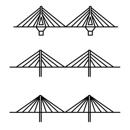 viaduct: Set of three different cable strayed line art style bridges