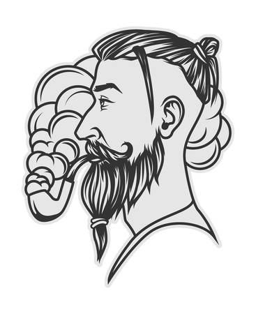 Hipster with beard and undercut hairstyle smoking tube portrait Illustration