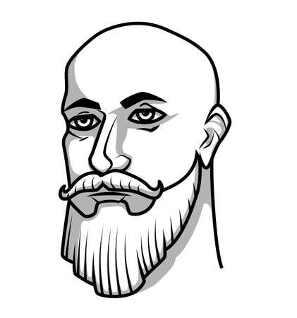 Calvo hombre con bigote y barba
