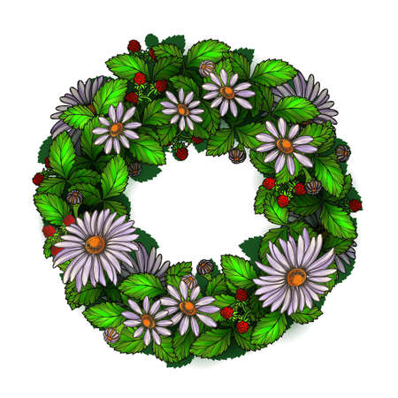 chamomile flower: Realistic chamomile floral wreath
