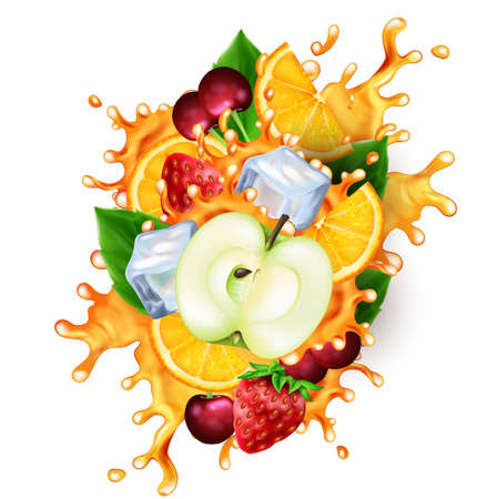 Group of fruits and ice cubes with realistic splashes of juice