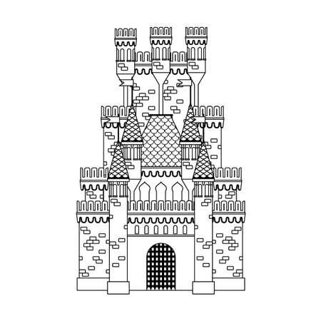 Dibujo Para Colorear: Castillo Medieval Ilustraciones Vectoriales ...