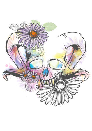Human skull with horns and sharp teeth decorated with bright watercolor splashes and flowers Illustration