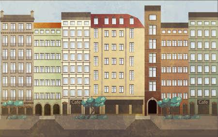 Städtische Landschaft. Flussufer und Häuser im europäischen Stil.