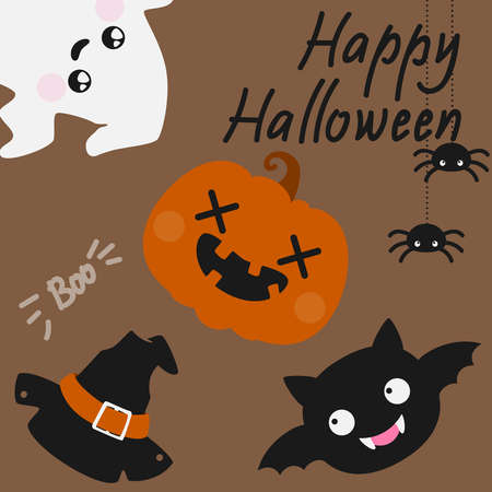 Cute Haloween card with spyders, ghost and jack-o-lantern