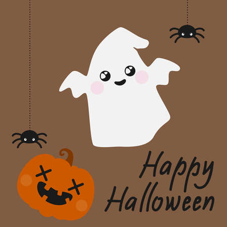 Cute Halloween card with spiders, ghost and jack-o-lantern