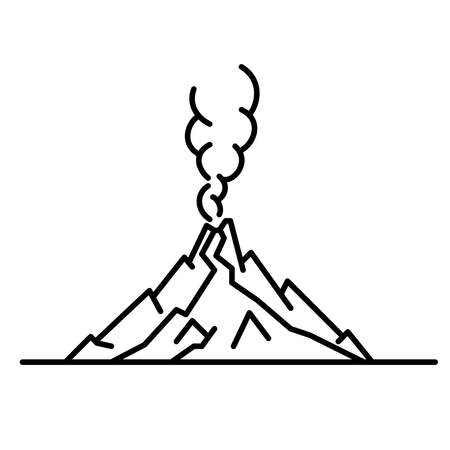 Flat line art volcano illustration illustration. Isolated on white background.
