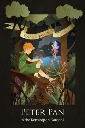 Bajkowa ilustracja Piotruś Pan i Dzwoneczek