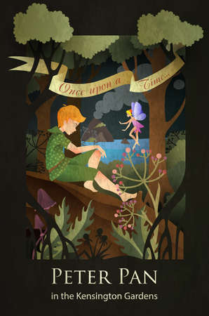 Peter Pan and Tinker Bell fairytale illustration