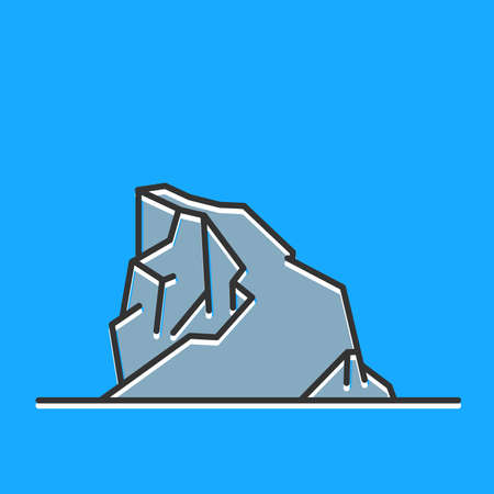 Flat line art mountain on blue background. 矢量图像