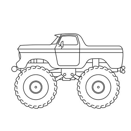 Flat style line art Monster Truck illustration