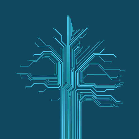 Abstract Circuit Technology Background. Circuit in shape of tree Illustration