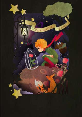 Kleiner Junge mit Rose und Fuchs, der vor dem Nachthimmel sitzt Vektorgrafik