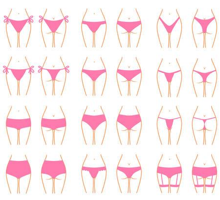 Conjunto de diferentes calzoncillos femele vista frontal y posterior Ilustración de vector