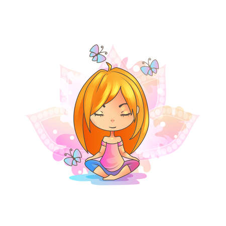 Cute Girl Practicing Yoga. Lotus meditation pose.