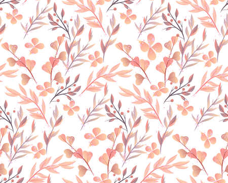 Retro style hand drawn seamless floral ornament.Colorful vector ornament for textiles and wrapping pages.