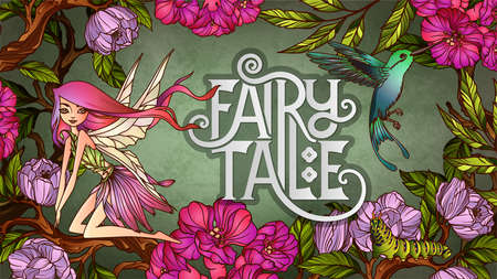 Cute fairy with with wings an flying colibri  in front of floral background Illustration