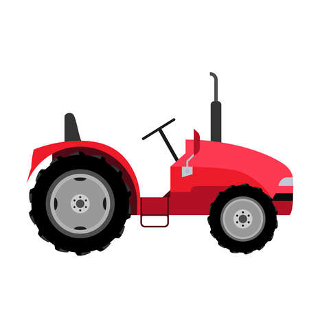 Small tractor.  Flat style vector illustration of a tractor isolated. Agricultural machinery for field work