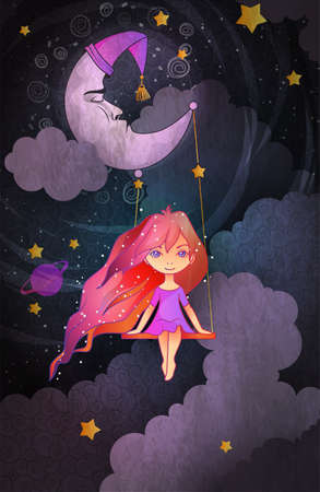 Cute little girl swinging on a crescent in front of night sky. Insomnia concept. Cartoon style vector illustration 向量圖像
