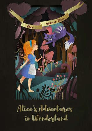 """Ragazza e gatto davanti alla foresta. Iscrizione """"Alice's adwentures in wonderland"""" copertina del libro o poster design"""