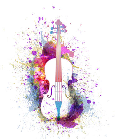 White cello or violin with bright colorful splashes. Creative music concept. Vectot illustration Illustration