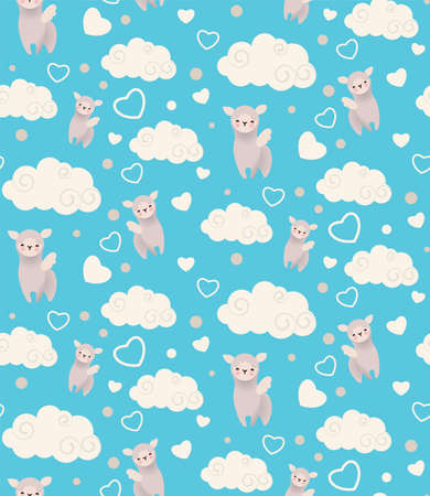 Semless pattern with cute winged llamas, clouds and hearts. Childish texture suitable for wallpaper, wrapping and textiles