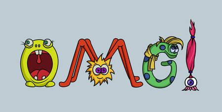 Word OMG stilyzed monster letters. Overlay or t-shirt design