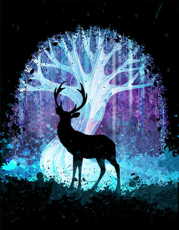 Deer silhouette in front of magic surreal tree in the night. Grunge vector illustration. Suits for poster or background