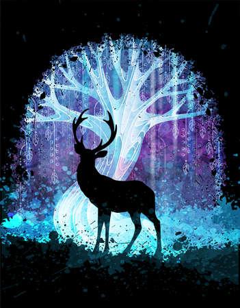 Hirschsilhouette vor magischem surrealem Baum in der Nacht. Grunge-Vektor-Illustration. Anzüge für Poster oder Hintergrund Vektorgrafik