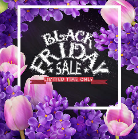 Black Friday label inside lilacs and tulips floral square frame.