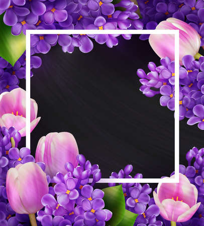 Lilacs and tulips floral square frame. Greeting card, invitation or poster template