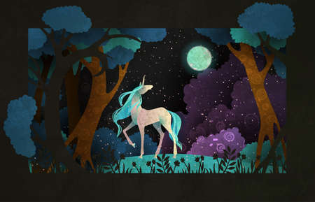 Unicorn in front of magic forest, night sky clouds and moon. Fairy tale illustration