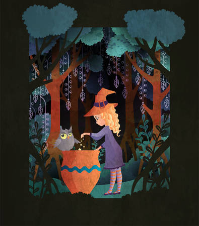 Witch with a cauldron in scary night forest. Fairy tale book cover or Halloween poster template Stock Illustratie