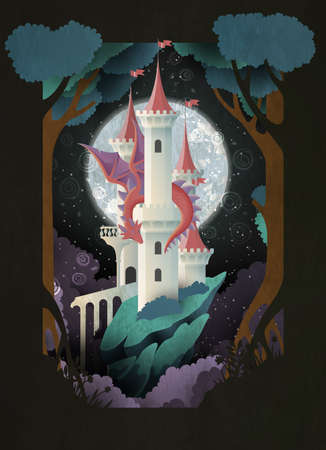 Book cover fairy tale illustration castle and dragon in front of night sky and moon Illustration