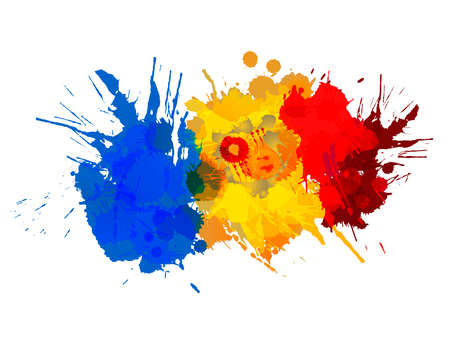 Flag of Andorra made of colorful splashes Ilustração
