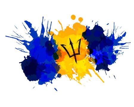 Drapeau de la Barbade fait d'éclaboussures colorées