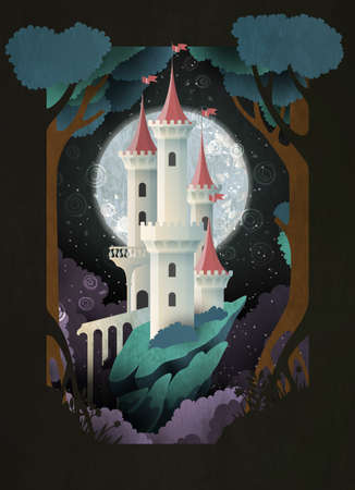 White castle in front of night sky and moon. Fairy tale illustration. Book cover, poster or postcard design Vetores