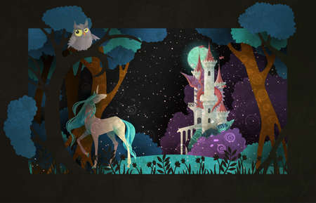 Book cover fairy tale illustration unicorn in front of castle, dragon, night sky and moon