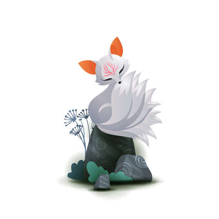 Nine-taled fox or kumiho sitting on the stone, asian fairytale character illustration