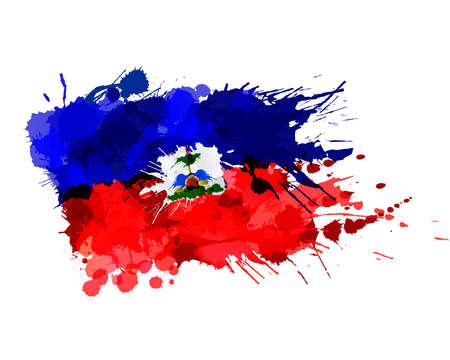 Flag of Republic of Haiti made of colorful splashes