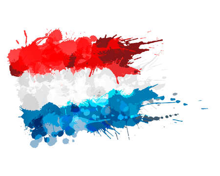 Flag of Grand Duchy of Luxembourg made of colorful splashes