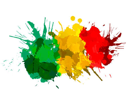 Flag of Republic of Mali made of colorful splashes