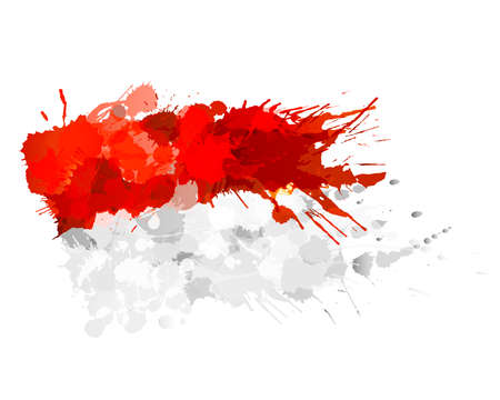 Flag of Principality of Monaco made of colorful splashes 矢量图像