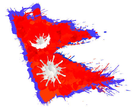 Flag of  Federal Democratic Republic of Nepal made of colorful splashes Illustration