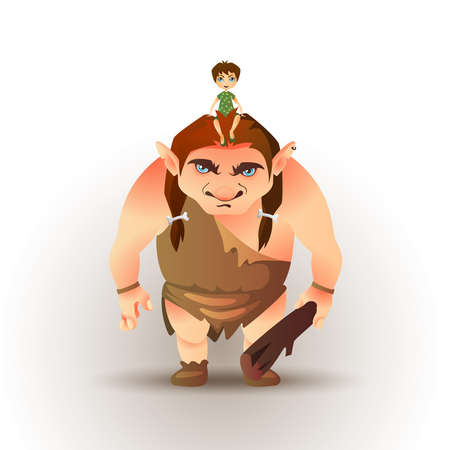 Boy sitting on giants head. Fairytale vector illustration Ilustração