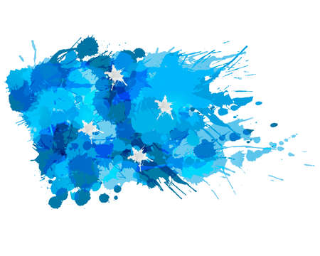 Flag of  Federated States of Micronesia made of colorful splashes Illustration
