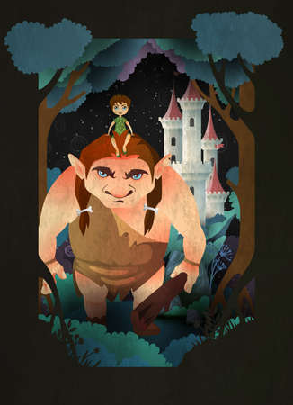 Boy sitting on gaints head in front of forest and castle. Fairytale vector illustration
