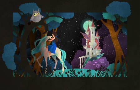 Fille chevauchant une licorne devant le ciel nocturne et le château Vecteurs