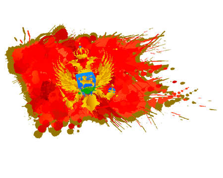 Flag of Montenegro made of colorful splashes  イラスト・ベクター素材