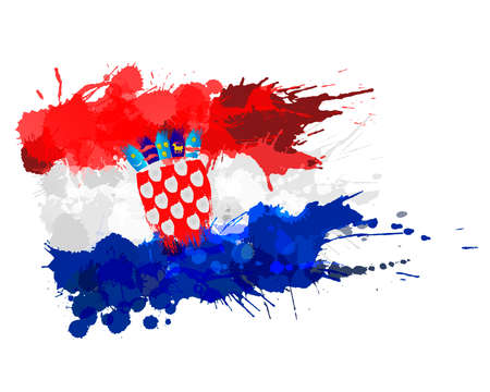 Flag of Republic of Croatia made of colorful splashes